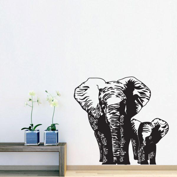 Elefant mor og unge